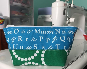 Small Open Wide Pouch in A is for Alphabet | Zippered Pouch | Cosmetic Bag