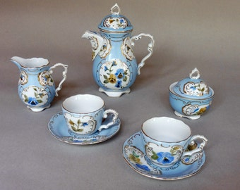 Rococo Style Blue Tea Set with Yellow and Blue Pansies and Butterflies