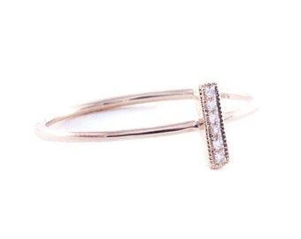 14K Gold Bar Ring, Pave Diamond Ring, Stacking Gold Ring, Diamond Ring,Diamond Bar Ring,Tula Jewelry
