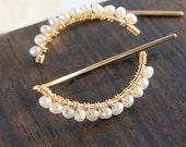 Pearl Half Moon Earrings, Classic Bridal Jewelry, Long Ear Wire, Gold Silver Earrings, Threader Earrings