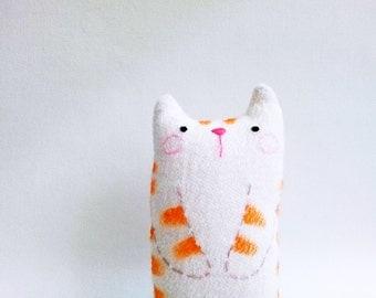 Small cute cat art doll desk toy decor stuffed tabby cat kitten orange stripe white cat gift stocking stuffer
