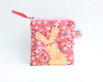 Cute Bunny Pouch, Pink Flower, Pouch, Change Purse, Coin Purse, Coin Wallet, Cute Rabbit, Zipper Pouch, Girls - Bunny Rabbit Gifts