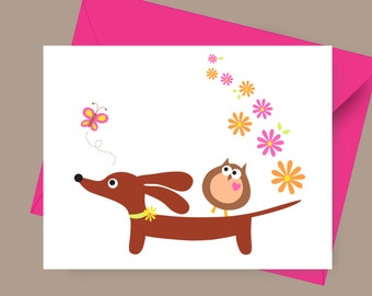 Dachshund Card - Doxie and Owl Daisy Delight with Envelope and Sticker - Dog Note Card