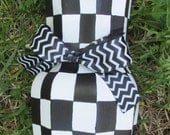 Hand painted courtly check upcycled glass vase MacKenzie Childs style chevron ribbon B