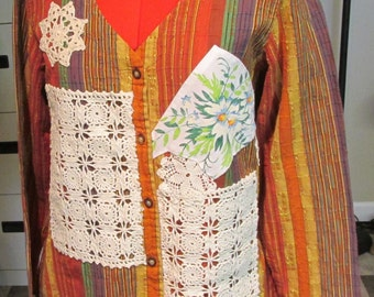 upcycled bright striped cotton blouse vintage lace & doilies Rooster sz L India refashion