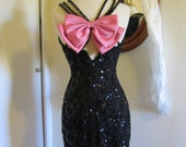 RESERVED for Lacy Bill Blass Black Lace Bead Sequin Pink Bow Cocktail Dress Size S 2-4