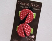 SALE Baby Hair Bow Clips - Precious Pair of Ladybug Snap Clips - Newborns, Babies, Infants, Toddlers and Girls