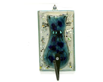 Cat Wall Hook  Blue yellow fused glass Cat Shaped Hook