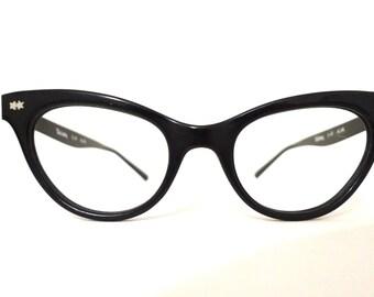 True Vintage 50s 60s NOS Black Cat Eye Glasses Frames Aluminum Combination Eyeglasses Sunglasses Designer sale 44mm 20mm 5.25 Inches
