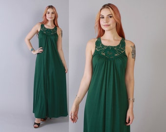 Vintage 70s MAXI DRESS / 1970s Forest Dark Green Boho Hippie Macrame Crochet Trim Long Dress