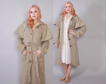 Vintage 70s SWEATER COAT / 1970s Neutral Heather Wool Long Cardigan Jacket with Detachable Cape & Belt XS