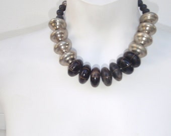 Vintage Necklace with Large wooden Beads and Large Silver Tone Metal Beads for Women