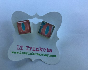 Preppy Lilly Pulitzer Square Stud Earrings