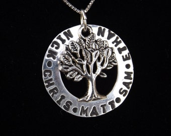 Custom Family Tree necklace, Kids name necklace, Personalized Gifts for mom, Mom name necklace, Handstamped name necklace