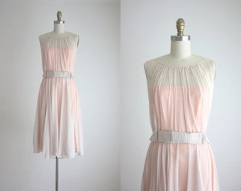 1960s blush chiffon dress