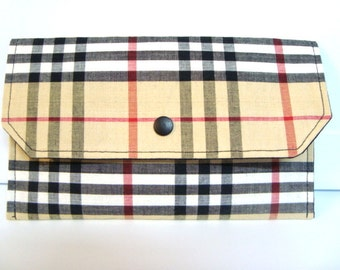 Cash Envelope Budget Use for the Dave Ramsey System or Coupon Organizer -Black, Red. Tan Plaid