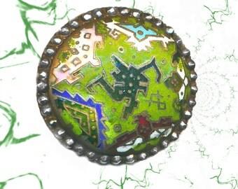 Button--Large Vintage Art Deco Jazz Age Green Star Enamel & Cut Steels--As Is