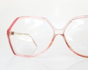 SALE 1980s Pink Eyeglasses Avant Garde Glasses Eyeglass Frames Light Pastel Pink Red Womens Ladies Feminine New Wave Fashion 80s Glam
