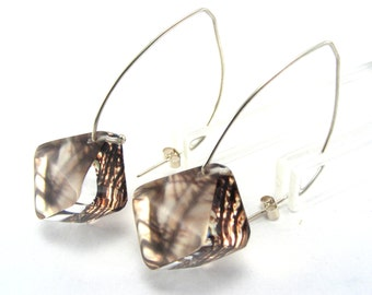 Diamond Shape Earrings,  Brown Branches. Sterling Silver Wire, handmade