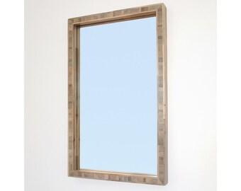 Modern Wood Mirror, 16 x 26 Beetle Kill Blue Pine Frame, Custom Sizes