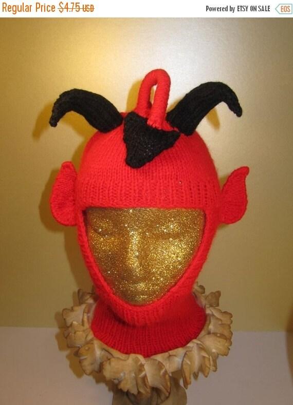 HALF PRICE SALE Instant Digital File pdf download knitting pattern -madmonkeyknits Red Devil Balaclava Hat pdf knitting pattern