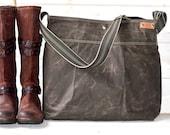 Waxed Canvas bag,Briefcase,Messenger bag,Dark khaki Tote,Travel bag,Fall Fashion