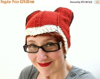 Mad Hat SALE 60% Off - Foxy Lady Fox Hat - Knitted Animal Beanie - the slouchy version