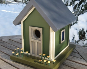 Birdhouse, Donette's Cottage, Green with Yellow Flowers