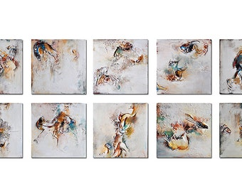"""Original Abstract Painting Large Set of Ten Abstract Paintings Modern White Gold Textured Wall Art 16x40"""""""