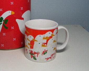 CHRISTMAS GOOSE Mug, Schmid, Vintage 80s, Gordon Fraser Geese 1980s
