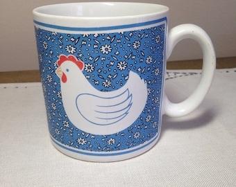 Memorial Day Sale Vintage Mug CHICKEN 80s Country Farmhouse Blue