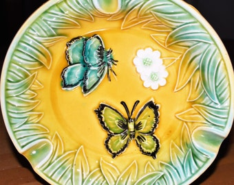 vintage floral flower Butterfly butterflies glazed ceramic round Ashtray 7in Japan