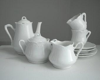 RESERVED - Children's Antique Tea Set . White China Tea Set . White Coffee Service