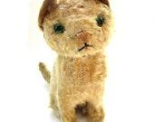 Antique Straw-Stuffed Mohair Kitten Wabi Sabi Cute
