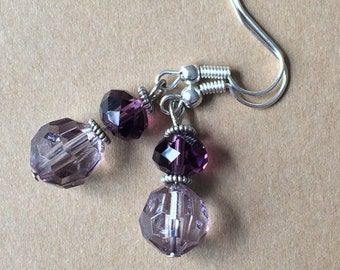Sparkling purple earrings