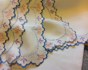 large Vintage Embroidered Linen Tablecloth