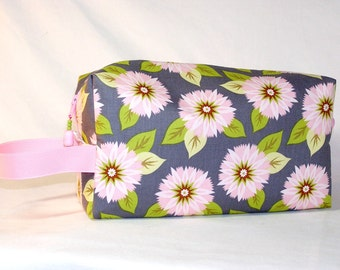 Pink Zinnias on Grey Project Bag