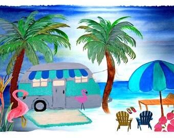 Air stream retro camper on the beach throw blanket from my original art.