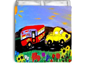 Yellow Retro Truck and Camper Trailer Duvet Covers from my original artwork