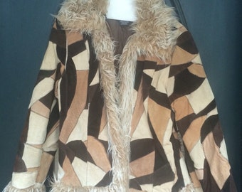 Vintage Leather Patchwork Coat