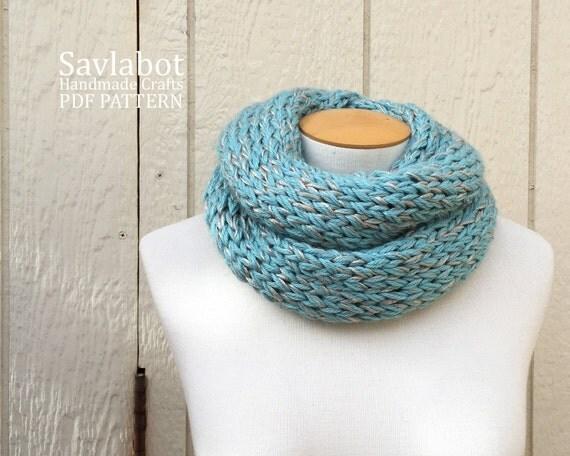 knit pattern PDF infinity scarf- knit cowl pattern - knit ...
