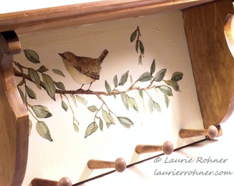 Hand Painted Farmhouse Wood Shelf with Pegs Bird on Tree Branch