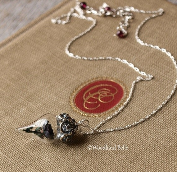 Black Rose Flower Necklace Terrarium Glass Vial Goth Lolita Style by Woodland Belle