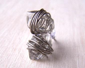 Crystal Earrings - Titanium Earrings - Silver Earrings - Wire Wrapped Earrings - Herkimer Diamond Stud Earrings - Herkimer Diamond Jewelry