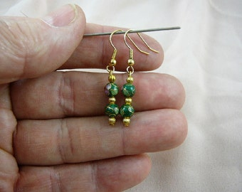 Green with pink flower 6 mm round Cloisonne two bead gold dangle earring pair EE-600-23