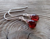 Tiny Garnet Gemstone and Birthstone Sterling Silver Dangle Earrings