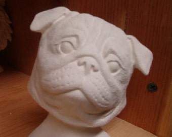Pug Dog, Bust Figurine, Statue, Ceramic, 4 inch Tall, Ready for you to paint