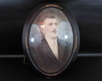 Antique Gentleman's Portrait in Oval Dome Glass Frame