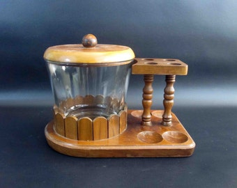 Vintage 4 Pipe Tobacco Stand with Glass Tobacco Humidor Jar. Retro Wood Humidor.
