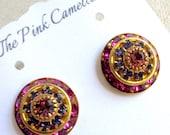 Hot Pink and Light Purple Swarovski Crystal Art Deco Style Stud Earrings
